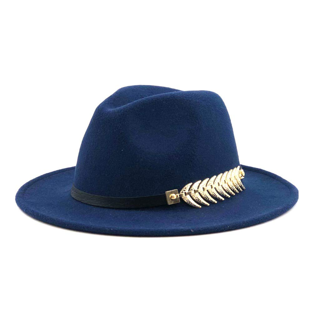 CNBEAU Men Women Wool Wide Brim Fedora Hat with Feather Leather Band