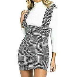 Kaaya Women Ladies Frill Detail Checked Pinafore Print Monochrome Skirt Dungaree Dress UK 6-14 (Monochrome, 10)