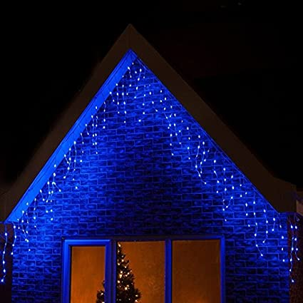 LightsGo/® Icicle Fairy Lights Outdoor Indoor LED Fairy Lights 300//400LED Warm White//Cool White//Blue//BlueAndWhite 300LED 6M, Blue