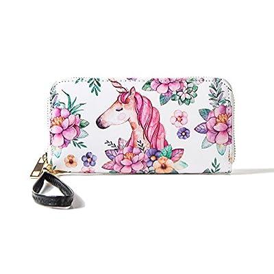 MISS FANTASY Women RFID BLOCKING Wallet Ladies Zip Around Clutch Purse with Wristlet