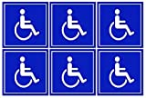 6 Pack of Disabled/Wheelchair Symbol ADA Compliant