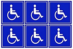 6 Pack of Disabled / Wheelchair Symbol ADA Compliant Handicap Access 3 X 3 Inch Blue Stickers 3M Vinyl Decals