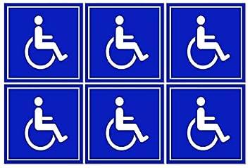 Juego de 6 personas con discapacidad/silla de ruedas Símbolo ...