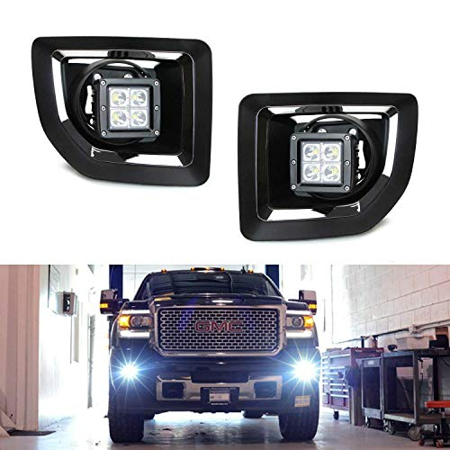 iJDMTOY LED Pod Light Fog Lamp Kit For 2015-18 GMC Sierra 2500 3500 HD, Includes (2) 20W High Power CREE LED Cubes, Foglight Bezel Covers, Fog Location Mounting Brackets & Switch Wiring Kit