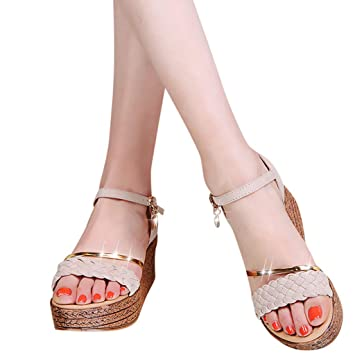 8e7603ed449 BSGSH Womens Metal Braided Platform Wedge Espadrille Sandals Open Toe  Summer Ankle Sandals (6 M