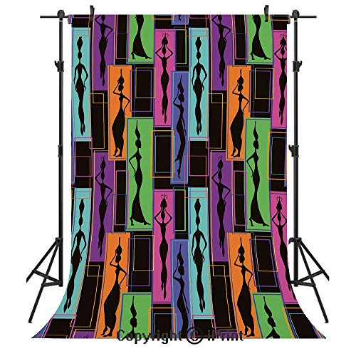 African Woman Photography Backdrops,Colorful Abstract Geometric Pattern Frames with Women Carrying Vases on Heads,Birthday Party Seamless Photo Studio Booth Background Banner 5x7ft,Multicolor 7' Vintage Head Vase
