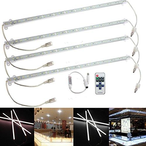 LYEJM 4 x 9W 5630 LED Rigid Strip Light Bar Waterproof White/Warm Car Cabinet Lamp + Remote Dimmer DC 12V (Color : Color Pure White)
