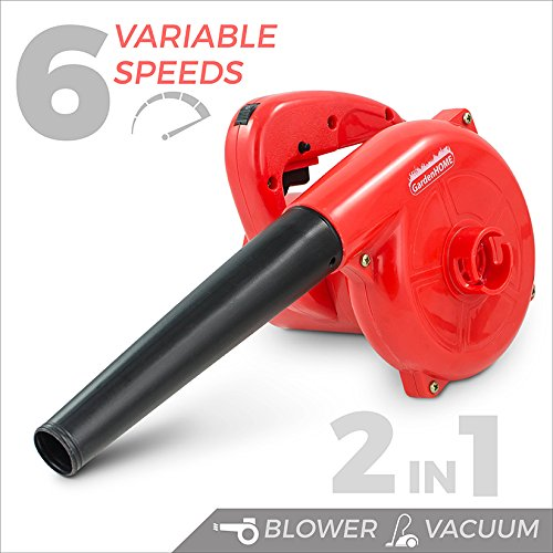 GardenHOME Leaf Blower and Handheld Vacuum Cleaner, 6 Variable Speed Control, 600 Watts, 16000 RPM by GardenHOME
