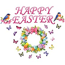 Collections Etc Garage Door Magnet Set Decoration - Happy Easter Spring Floral Wreath