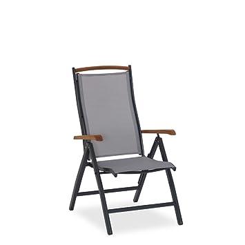 Hochwertig Liegestuhl Klappbar Metall Gestell Aluminium Grau Armlehnen  Relax Hochsessel Gartenstuhl   San Roma