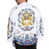 Men Japanese Yukata Coat Kimono Jacket Vintage Loose Top Black Warm Dragon Retro