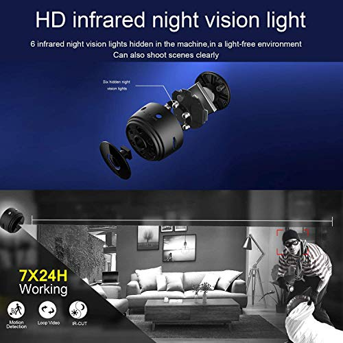 Mini Hidden Camera WiFi Wireless Video Camera 1080P HD Small Home Security Surveillance Cameras Remote Playback Magnetic Feature Night Vision Spy Camera Motion Detection for Car (with PC/Phone APP)