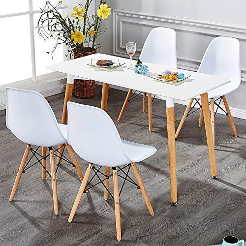 VECELO Mid Century Modern Style Side Chairs with Natural Wood Legs (Set of 4) Easy Assemble for Kitchen Dining, Living Room,Bedroom, Standard, White by VECELO (Image #6)