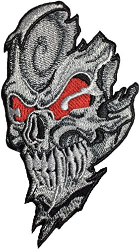 Skull RED EYES chief biker heavy metal Horror Goth Punk Emo Rock DIY Logo Jacket Vest shirt hat blanket backpack T shirt Patches Embroidered Appliques Symbol Badge Cloth Sign Costume - Rims Eye Cat Red