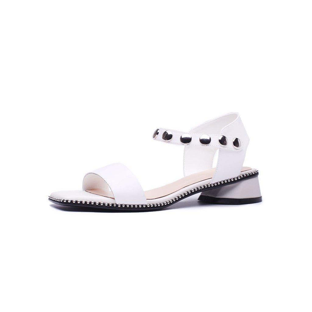 JIANXIN Perles De Décoration été en Métal Bout Perlé Talons Sandales Chaussures pour Femmes À Bout Ouvert Mot Boucle avec Talon avec des Chaussures D été À Talons Blanc df9eb18 - therethere.space
