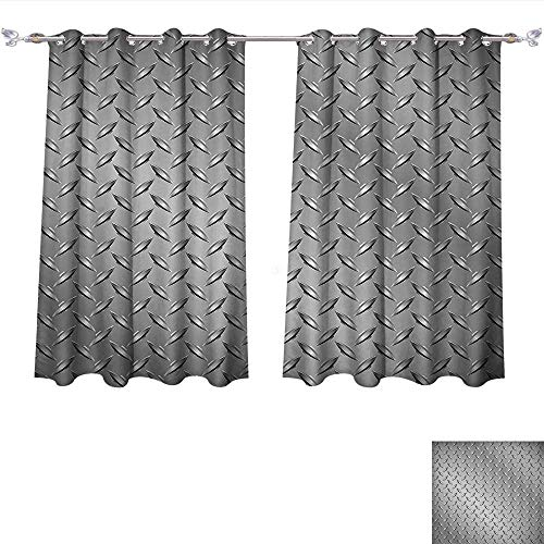 Qinqin-Home Printed Thermal Insulated Bedroom Blackout Curtains Grey Cross Wire Fence Netting Display with Diamond Plate Effects Chrome Kitsch Motif Silver for Bedroom Set (W63 x L72 -Inch 2 Panels) ()