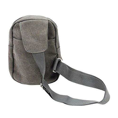TOOGOO(R) Tracolla casuale dellannata delle piccole tela di canapa degli uomini che escono il sacchetto del messaggero del sacchetto della bicicletta di Crossbody del sacchetto-caffe Grigio chiaro