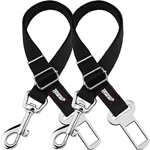 - Friends Forever Dog Seat-Belt, Adjustable 2-Pack Black Nylon Vehicle Tether for Pets, Cat Car Restraint Lead
