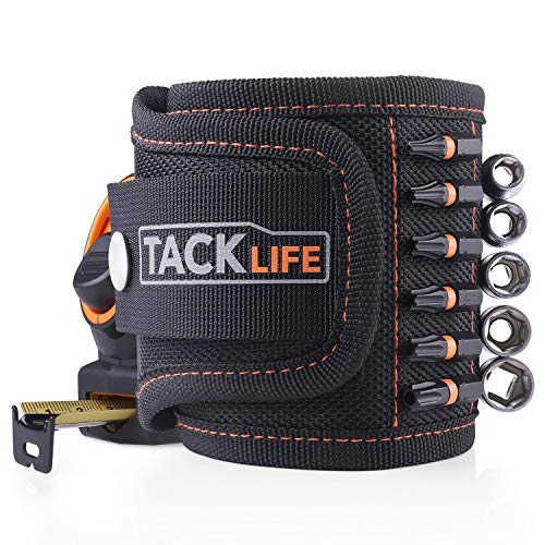 TACKLIFE Magnetic Wristband with Strong Magnets for Holding Tools, Screws, Nails, Drilling Bits | Ideal for Professional and Home Using - MWB1A