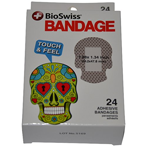 BioSwiss Novelty Bandages Self-Adhesive Funny First Aid, Novelty Gag Gift (24pc) (Sugar Skull)