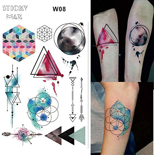 Watercolor Travel World Map | Non-Toxic Tattoo with Day and Night Triangle City Surfing Puzzle Designs Tattoos (1 Piece)