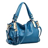 Voudi Genuine Leather Handbags for Women Top Handle Bag Hobo Handbag Tote Shoulder Bag Designer Purse Ladies Cross Body Bag (Blue)