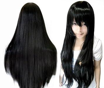 Popular pelo negro y liso 80 cm de largo peluca cosplay del traje de tres piezas