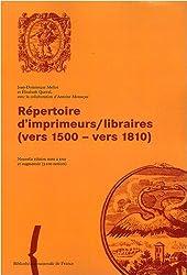 Répertoire d'imprimeurs/libraires (vers 1500 - vers 1810)