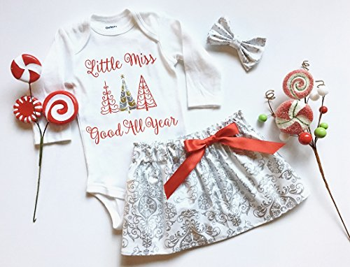 Baby Girl Christmas Outfit, Little Miss Good All Year, Red Silver White