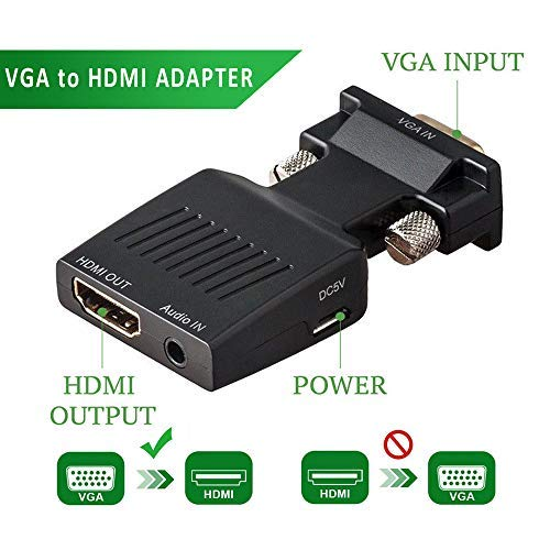 (VGA to HDMI Adapter with Audio 1080P VGA Male to HDMI Female Adapter Converter - Connect PC with VGA to TV/Monitor/Projector with HDMI Port)