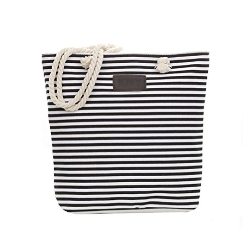 Bag Beach Shoulder Oversized Striped Zipped Women Bag Shopping MEGA Black Tote Top Handle Bag Canvas n41YxT