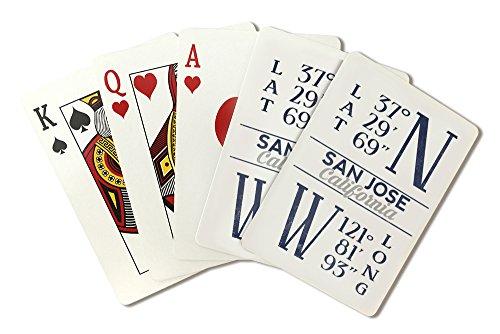 San Jose, California - Latitude and Longitude (Blue) (Playing Card Deck - 52 Card Poker Size with Jokers)