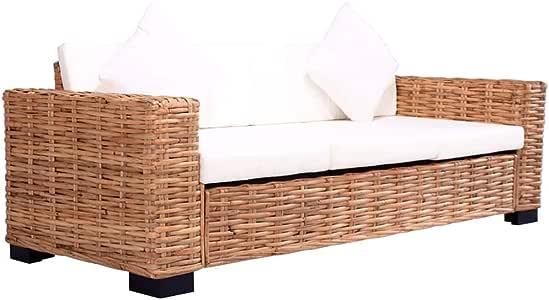 vidaXL - Sofá de 3 plazas de jardín de resina trenzada, mueble de patio, sofá exterior, mobiliario de jardín, terraza, patio, salón interior: Amazon.es: Hogar
