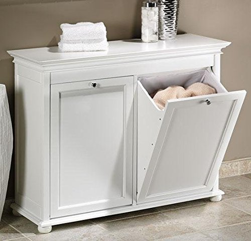 Hampton Bay 35 Inch White Double Tilt Out Bathroom Hamper, 27