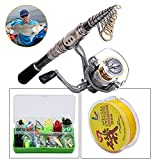 HighSound Fishing Rod + Reel + Line + Accessories Kit, Retractable Fishing Pole with Reel and Fishing Line plus 101 Piece Accessories Kit Saltwater Freshwater, (6'10'' (2.1m) Kit) ¡