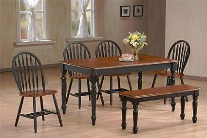 Country farmhouse 6 piece dining set black cherry