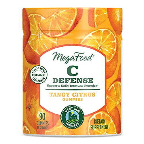 MegaFood - C Defense Gummies, Supports Daily Immune Function with Oranges, Organic Berries, and Ginger, Vegan, Gluten-Free, Non-GMO, Tangy Citrus, 90 Gummies