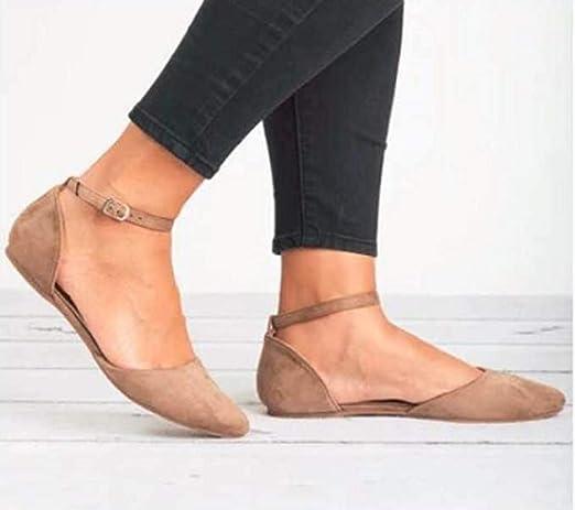 Sandalias De Las Mujeres, ❤Absolute Retro Casual Mujeres Puntiagudas Boca Poco Profunda Plataforma Sola Hebilla Desnuda Botas Sola Correa Zapatos De Playa ...