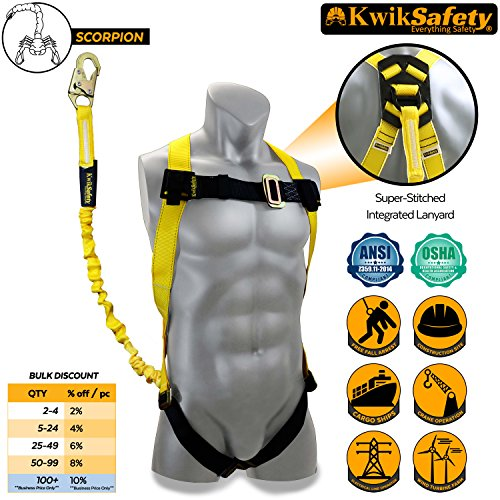 Danger Hard Case (KwikSafety SCORPION | Safety Harness w/ attached 6ft. Tubular Lanyard on back | OSHA Approved ANSI Compliant Fall Protection | INTERNAL Shock Absorbing Lanyard | Construction Carpenter Scaffolding)