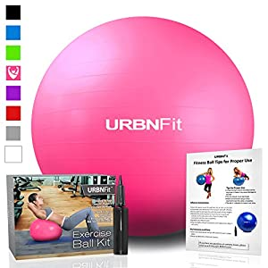 Exercise Ball (55 CM) for Stability & Yoga - Workout Guide Incuded - Professional Quality (Pink)