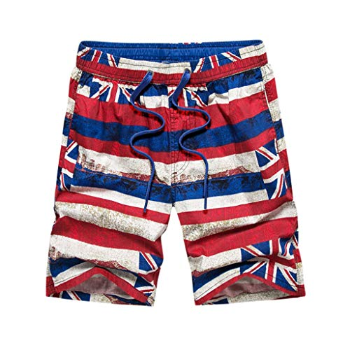 Yuxikong Men's USA Flag Shorts, Swimtrunks Quick Dry Board Shorts Beach Holiday Swimwear Print Bathing Suits Red