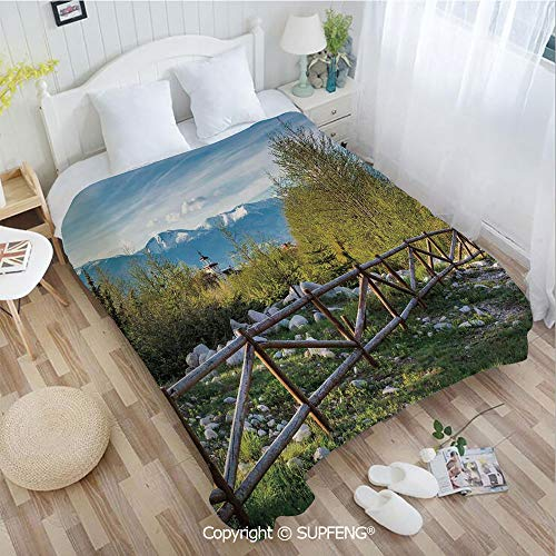 FashSam Super Soft Blankets Idyllic Scene with Tree Trunk Plank and Snow Mountain Range The Alps Photo(W39.4xL49.2 inch) Air Conditioning Comfort Warmth for Bedroom/Living Room/Camping etc
