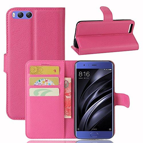 Lusee® PU Caso de cuero sintético Funda para Xiao Mi 6 Mi6 5.15 Pulgada Cubierta con funda de silicona marrón rosa roja