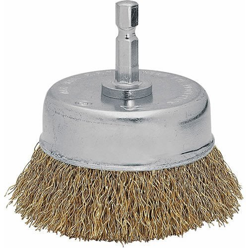 Vermont American 16784 3-Inch Fine Wire Cup Brush with 1/4-Inch Hex Shank for Drill (Brush Cup Brass)