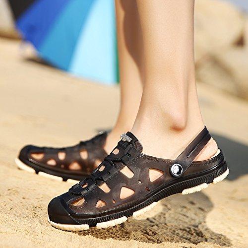 Xing Lin Flip Flop De La Playa Orificio Macho Zapatos De Primavera Y Verano Nuevos Hombres S Hueco Sandalias Informales No - Deslizamiento Juventud Zapatos Sandalias De Playa WY801 black