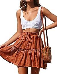Women's Flared Short Skirt Polka Dot Pleated Mini Skater Skirt with Drawstring