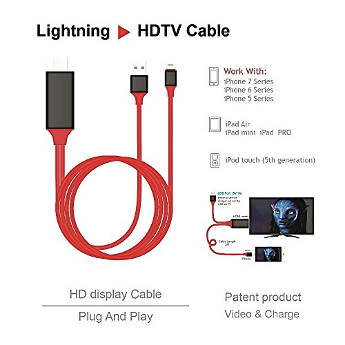 Lightning to HDMI CABLE-1080P HDTV Lightning to HDMI Adapter Cable, IOS to HDMI Digital Audio 1080P HDTV Cable for iPhone x,8/7 Plus,6/6S Plus,5 Plus/5S/iPad/iPod Touch Models, Projector by PEACOCK JEWELS (Image #1)