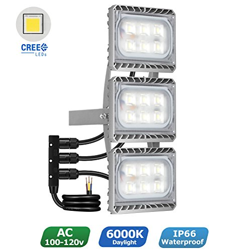 STASUN LED Flood Light, 90W Super Bright Triple Head LED Security Lights Outdoor, Cree LED Source, 8100lm, 6000K Daylight, Waterproof Adjustable Spotlight for Yard, Garage, Warehouse Triple Incandescent Light Fixture
