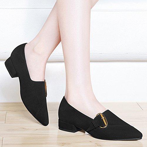 Btrada Mujeres Casual Penny Mocasines Zapatos De Punta Estrecha Metal Hebilla Block Heel Mocasín Slip-on Zapatos Planos Negro