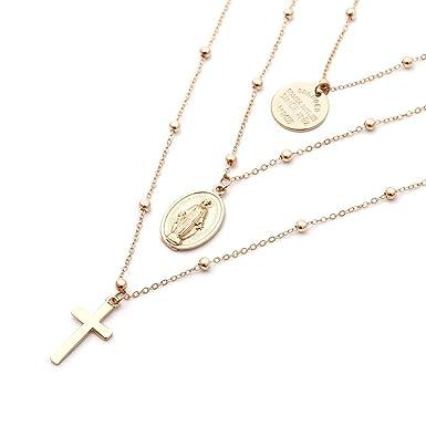 6ed6718ab84b ❤️LILICAT Style religieux Multi Chain Collier Croix Vierge Mary Collier  Pendentif pour les femmes Mode